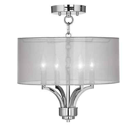 "Fortuna Chrome 16"" Wide Sheer Silver Ceiling Light"