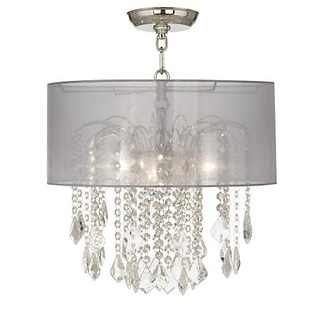 """Nicolli Clear 16"""" Wide Sheer Silver Crystal Ceiling Light"""