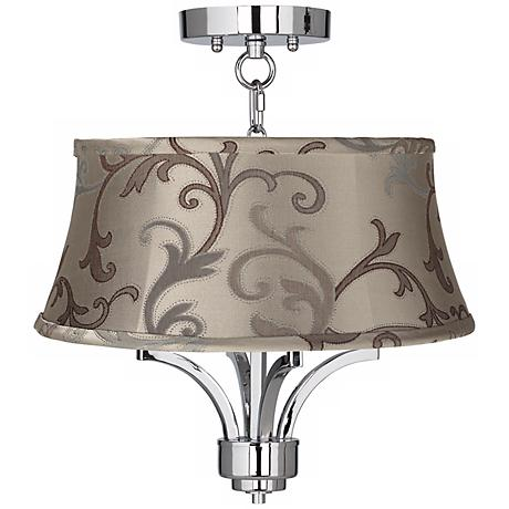 """Fortuna Chrome 16"""" Wide Leon Floral Scroll Ceiling Light"""