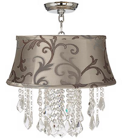 "Nicolli Clear 16"" Wide Leon Floral Crystal Ceiling Light"