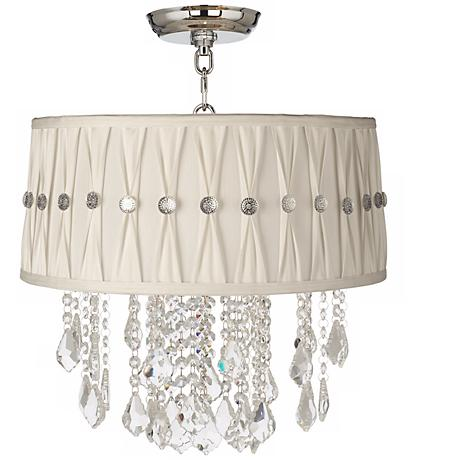 """Nicolli Clear 16"""" Wide Pinch Pleat Crystal Ceiling Light"""