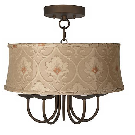 """Wynwood 16"""" Wide Ceiling Light with Taupe Floral Shade"""