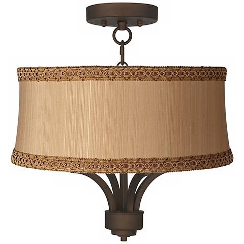 "Fortuna Bronze 17"" Wide Zurich Taupe Ceiling Light"