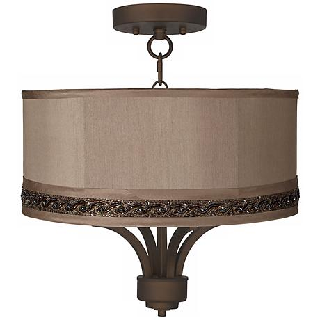 """Fortuna Bronze 16"""" Wide Morell Silver Ceiling Light"""