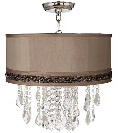 """Nicolli Clear 16"""" Wide Morell Silver Crystal Ceiling Light"""
