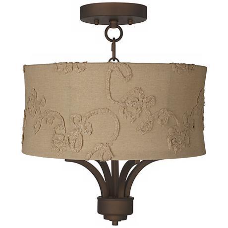 """Fortuna Bronze 15"""" Wide Berkley Beige Ceiling Light"""