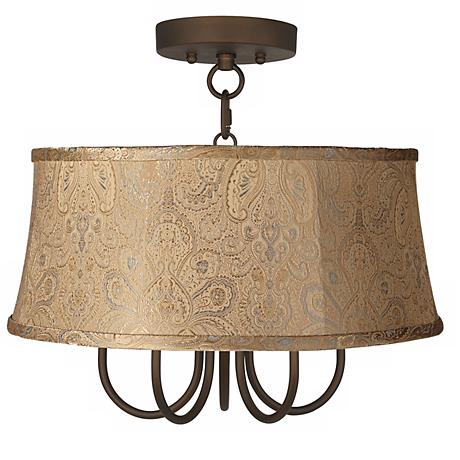 """Wynwood 17"""" Wide Ceiling Light with Wasby Tan Shade"""