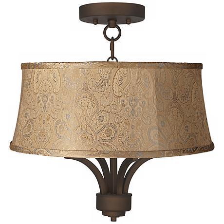"""Fortuna Bronze 17"""" Wide Wasby Tan Ceiling Light"""