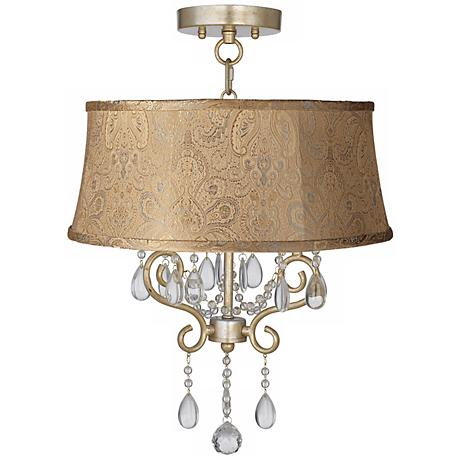 """Conti 17"""" Wide Ceiling Light with Wasby Tan Shade"""