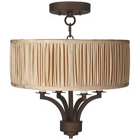 "Fortuna Bronze 16"" Wide Carlton Pleat Ceiling Light"