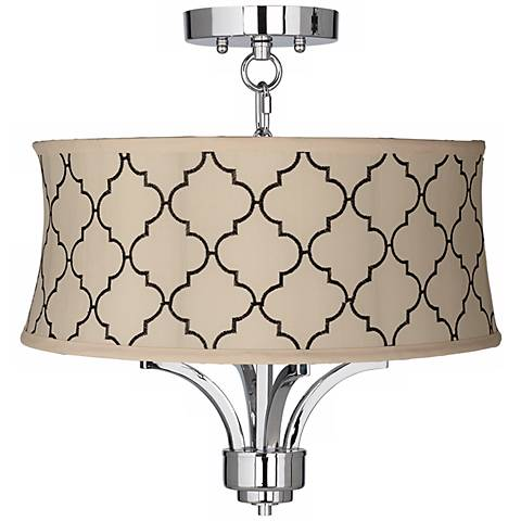 "Fortuna Chrome 17"" Wide Cream Moroccan Tile Ceiling Light"