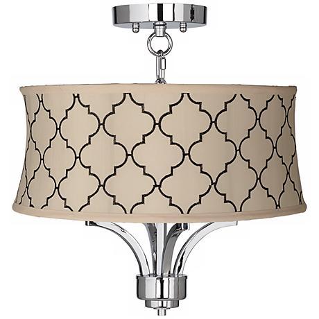 "Fortuna Chrome 17"" Wide Cream Moroccan Tile Ceiling Light"