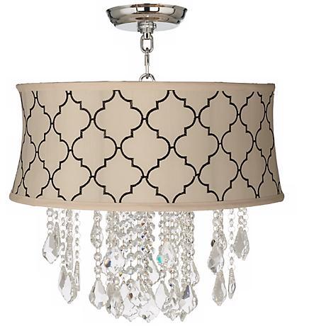 "Nicolli Clear 17"" Wide Cream Tile Crystal Ceiling Light"