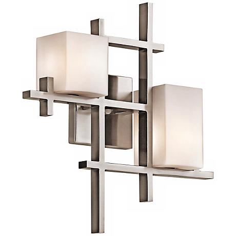 """Kichler City Lights 16"""" High Geometric Pewter Wall Sconce"""