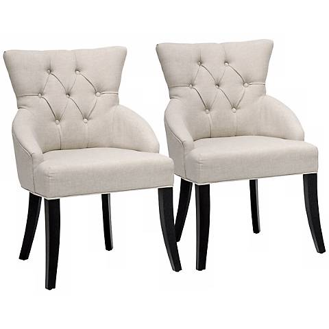 Set of 2 Beige and Birch Dining Chairs