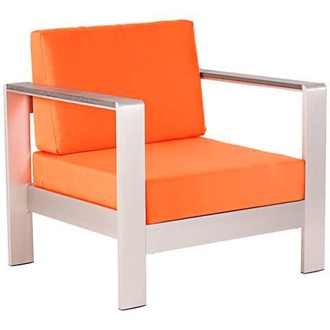 Zuo Cosmopolitan Aluminum Outdoor Armchair with Orange Cushions