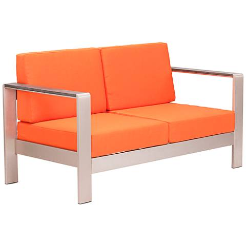 Zuo Cosmopolitan Aluminum Outdoor Loveseat with Orange Cushions