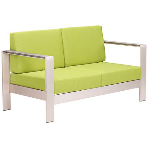 Zuo Cosmopolitan Aluminum Outdoor Loveseat with Green Cushions