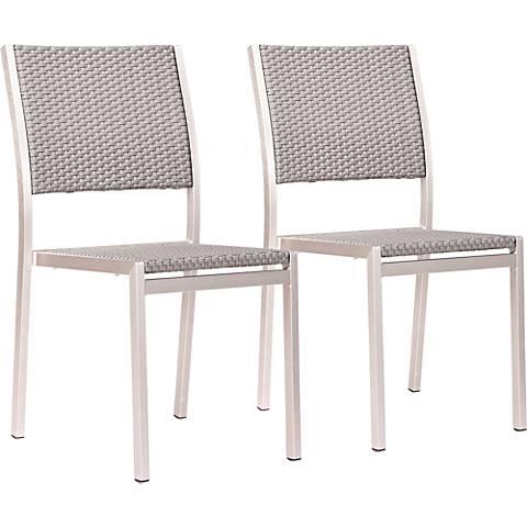 Zuo Metropolitan Weave Outdoor Dining Chair Set of 2