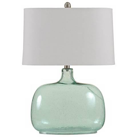 Brentford Seeded Teal Glass Table Lamp
