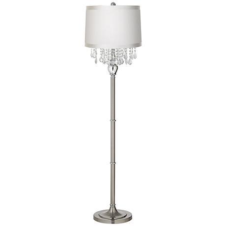 Crystals Off-White Shade Satin Steel Floor Lamp
