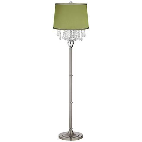 Crystals Olive Green Satin Shade Satin Steel Floor Lamp