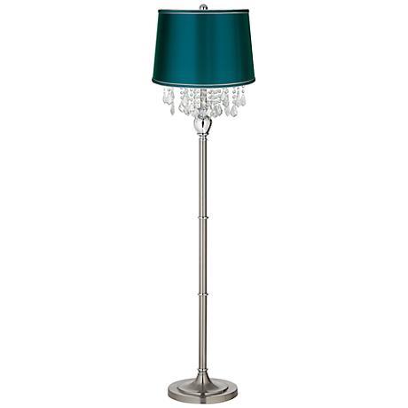 Crystals Teal Blue Satin Shade Satin Steel Floor Lamp
