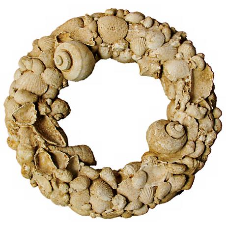 "Seine Natural Stone Shell 15"" Wide Outdoor Wreath"