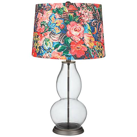 Clear Fillable Floral Digital Print Shade Double Gourd Lamp