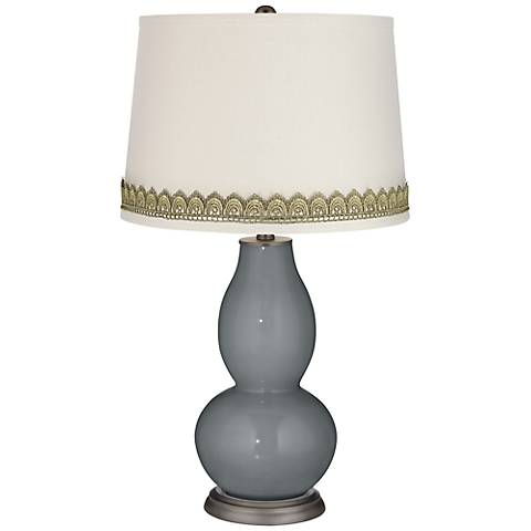 Software Double Gourd Table Lamp with Scallop Lace Trim