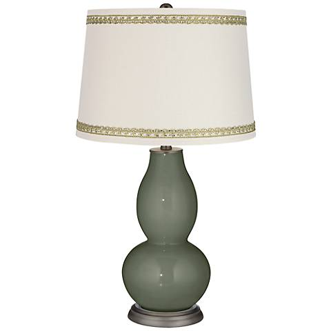 Deep Lichen Green Double Gourd Lamp with Rhinestone Lace Trim