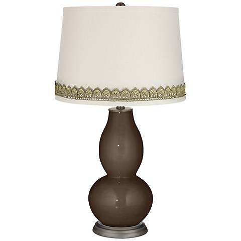 Carafe Double Gourd Table Lamp with Scallop Lace Trim
