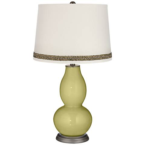 Linden Green Double Gourd Table Lamp with Wave Braid Trim