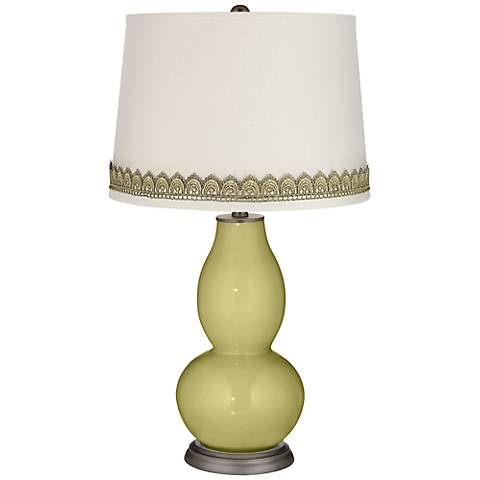 Linden Green Double Gourd Table Lamp with Scallop Lace Trim