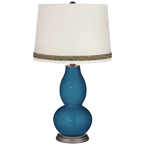 Bosporus Double Gourd Table Lamp with Wave Braid Trim