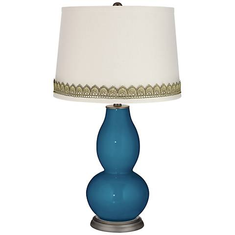 Bosporus Double Gourd Table Lamp with Scallop Lace Trim