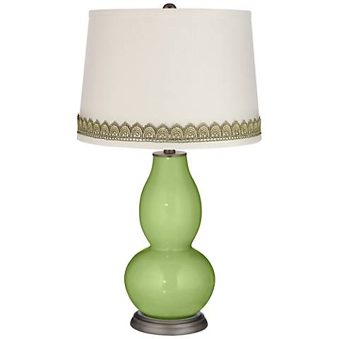 Lime Rickey Double Gourd Table Lamp with Scallop Lace Trim
