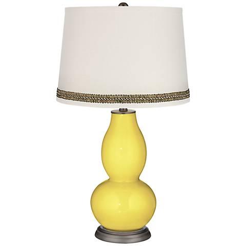Lemon Twist Double Gourd Table Lamp with Wave Braid Trim