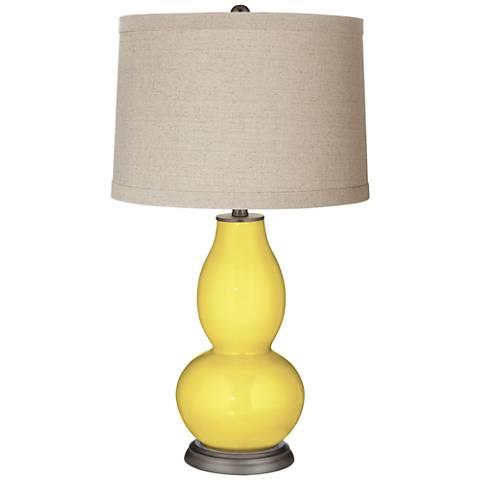 Lemon Twist Linen Drum Shade Double Gourd Table Lamp