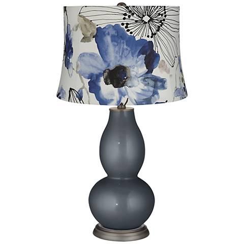 Blue Watercolor Flowers Blue Flowers Double Gourd Table Lamp