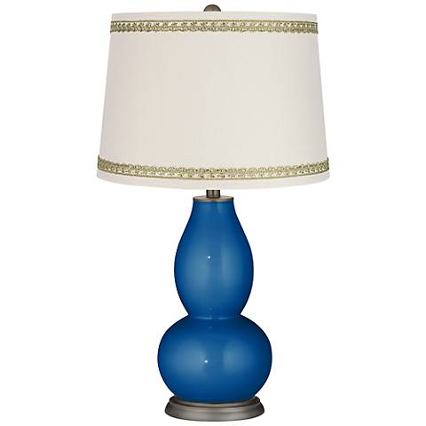 Ocean Metallic Double Gourd Table Lamp with Rhinestone Lace Trim