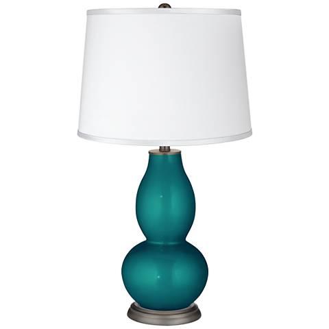 Magic Blue Metallic - Satin White Shade Double Gourd Lamp