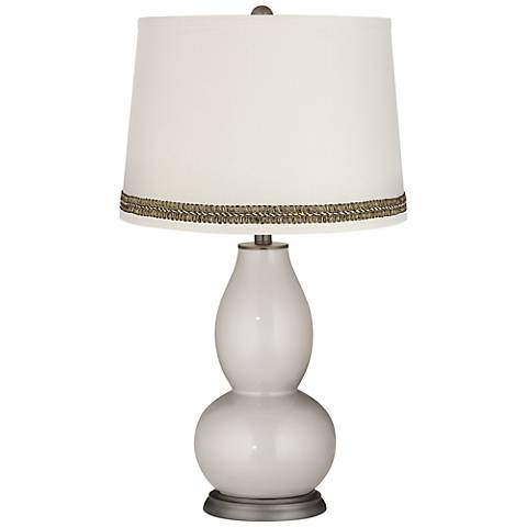 Silver Lining Metallic Double Gourd Lamp with Wave Braid Trim