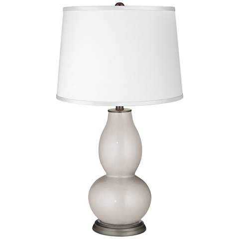 Silver Lining Metallic Satin White Shade Double Gourd Lamp