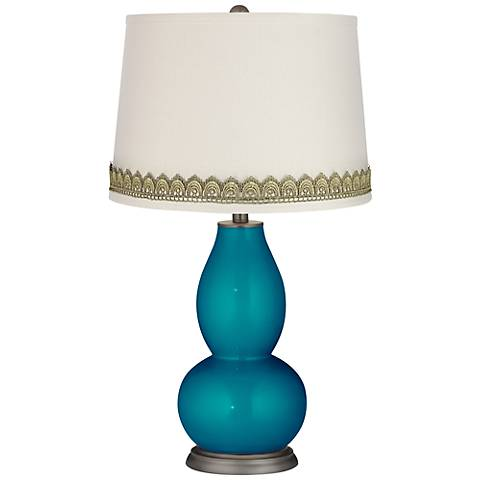 Turquoise Metallic Double Gourd Lamp with Scallop Lace Trim