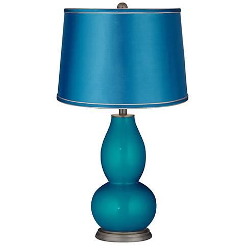 Turquoise Metallic-Satin Turquoise Shade Double Gourd Lamp