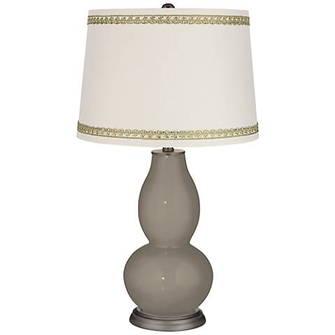 Backdrop Double Gourd Table Lamp with Rhinestone Lace Trim