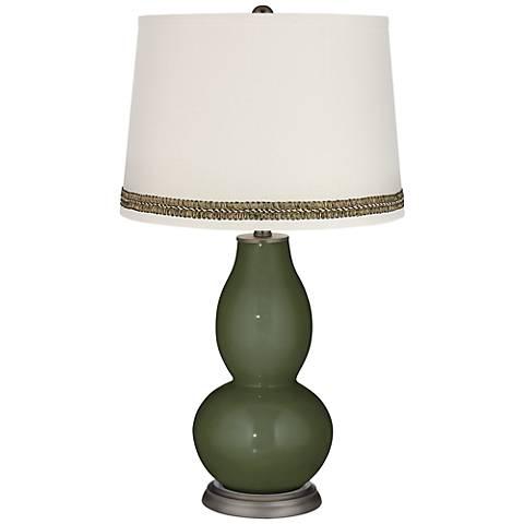 Secret Garden Double Gourd Table Lamp with Wave Braid Trim