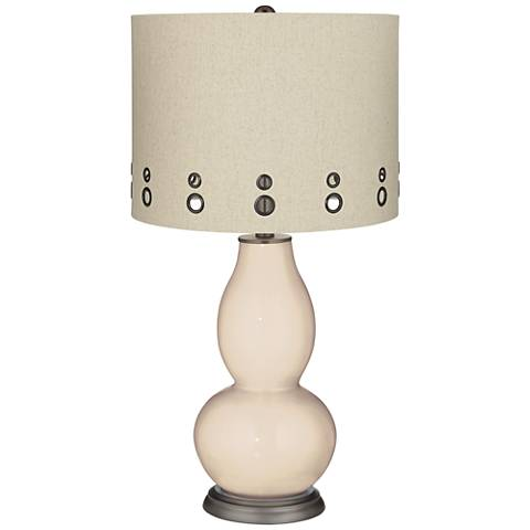 Steamed Milk Beige Dual-Grommet Shade Double Gourd Table Lamp