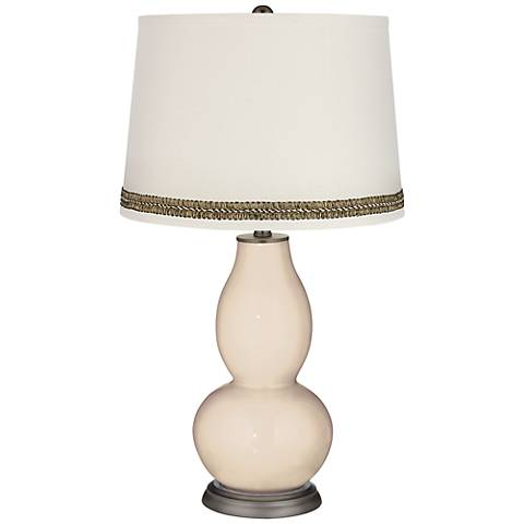 Steamed Milk Double Gourd Table Lamp with Wave Braid Trim